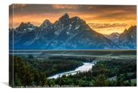 Sunset On Grand Teton And Snake River - Wyoming, Canvas Print