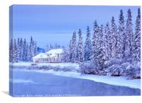 Winter Home On Alaska River - Fairbanks, Canvas Print