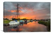Summer Canal Sunset, Canvas Print
