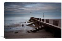 Portobello Beach and groyne at Dusk, Canvas Print