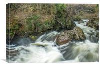 The River Llugwy in Snowdonia after Heavy Rain, Canvas Print