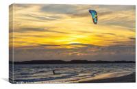 Kite Surfing at Newborough Warren Anglesey, Canvas Print