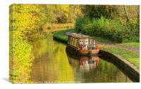 Narrowboat Moored Brecon Monmouth Canal Autumn, Canvas Print