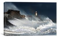 Stormy Seas at Porthcawl south Wales, Canvas Print