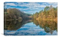 Llanwonno Reservoir and Tree Reflections Wales, Canvas Print