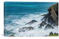Rough Seas at Porthgain Pembrokeshire Coast, Canvas Print