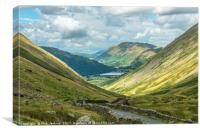Looking Down Kirkstone Pass to Place Fell Lake Dis, Canvas Print