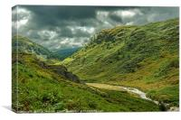 Abergwesyn Common Mid Wales on a mixed weather day, Canvas Print