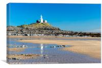 Mumbles Lighthouse from Bracelet Bay, Canvas Print