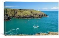 Lobster Boat off Porthgain Pembrokeshire Coast , Canvas Print