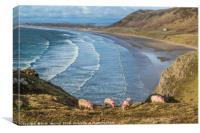 Rhossili Bay Gower South Wales , Canvas Print