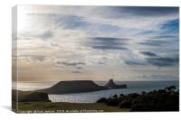 Worms Head on a Winter Evening Gower Peninsula, Canvas Print