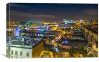 Newcastle upon tyne at night, Canvas Print