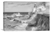 Tynemouth Pier Taking all of mother natures force!, Canvas Print