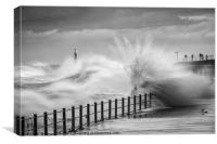 Sunderland seafront with a tidal surge, roker pier, Canvas Print