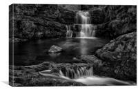 Dinas Rock Waterfalls, Mono, Canvas Print