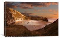 Lulworth Cove Sunset, Canvas Print