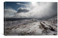 Snow storm over Fan Hir Brecon Beacons. , Canvas Print