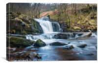 Waterfalls at Blaen y Glyn, Brecon Beacons., Canvas Print
