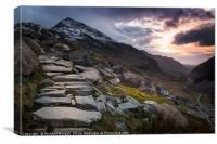 Sunset over Crib Goch & Llanberis Pass, Snowdonia., Canvas Print