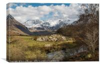 Snow covered mountains in the Ogwen Valley, Snowdo, Canvas Print