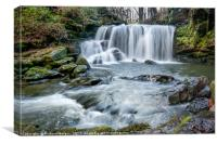 Cwm Du Glen Waterfalls, Pontardawe, Swansea., Canvas Print