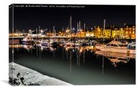 Arbroath harbour at night, Canvas Print