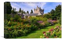 Cawdor Castle and flower garden, Canvas Print