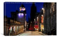 Edinburgh Camera Obscura and Royal Mile at night, Canvas Print