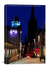 Edinburgh Royal Mile and Camera Obscura at night, Canvas Print