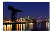 Finnieston Crane and Clyde Arc Bridge at night, Canvas Print