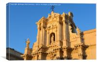 Sunset on facade of Syracuse Cathedral, Canvas Print