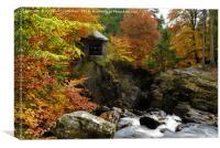 Ossian's Hall and Black Linn Waterfall in autumn, Canvas Print