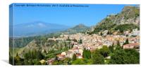 Taormina, Sicily with Mount Etna in background, Canvas Print