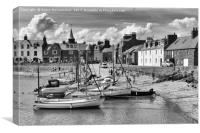 Stonehaven harbour (mono), Canvas Print