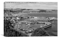 View across Stonehaven Harbour mono, Canvas Print