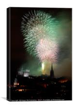 Edinburgh Festival Fireworks from Salisbury Crags, Canvas Print