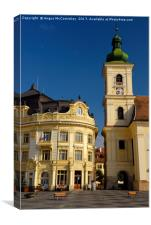 Bell tower of RC Church in Sibiu, Canvas Print