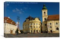 Piata Mare square in Sibiu, Transylvania, Romania, Canvas Print
