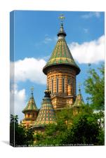 Tower of Orthodox Cathedral in Timisoara, Romania, Canvas Print