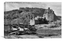Eilean Donan Castle (mono), Canvas Print