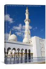 Minaret and colonnade of Grand Mosque Abu Dhabi, Canvas Print
