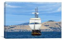 Tall ship approaching Hobart harbour Tasmania, Canvas Print
