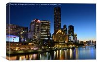 Melbourne Southbank skyline at dusk, Canvas Print