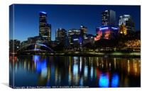 Melbourne Northbank skyline at dusk, Canvas Print