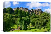 Edinburgh Castle and Princes Street Gardens, Canvas Print