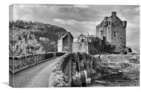 Bridge to Eilean Donan Castle (mono), Canvas Print