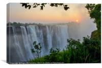 """The smoke that thunders"" - Victoria Falls sunrise, Canvas Print"