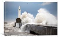 Storm waves, Aberdeen , Canvas Print