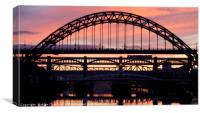 Tyne Bridges at Sunset, Canvas Print